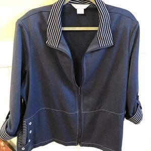 Allison Daley jacket size 22W front full zip Navy